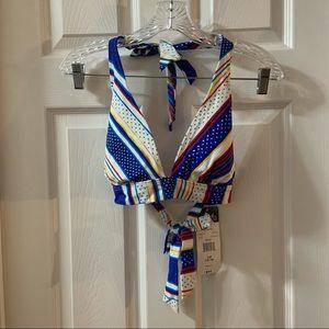 NWT Catalina White/Blue/Yellow Halter Bikini Top L